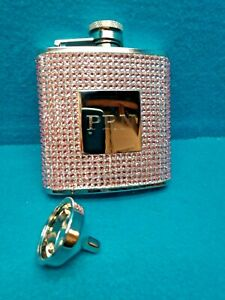 THINGS REMEMBERED Stainless Steel 5 oz Monogrammed Lady's Flask Pink Rhinestones