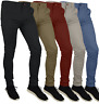 Mens Skinny Fit Stretch Chino Trousers Casual Flat Front Super Skinny Pants