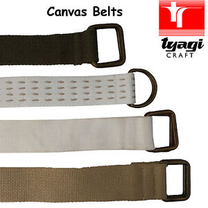 Casual Cotton Canvas Belt Men Summer Buckle Loop D-Ring Jeans Chino Yoga Belt