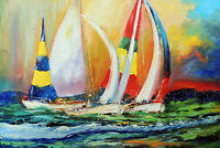 Sailboat Ocean Regatta Full Spinnaker Sunset Stretched Modern Art Oil Painting