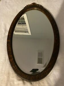 """Early 1900s Oak Oval Frame And Mirror 26"""" X 15"""""""