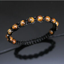 8mm Tiger's Eye Beads Black Shamballa Adjustable Bracelet Men Women Healing