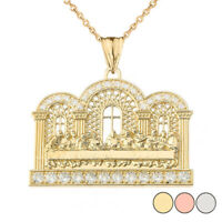Solid Gold Diamond The Last Supper  Pendant Necklace  (Yellow/White/Rose)