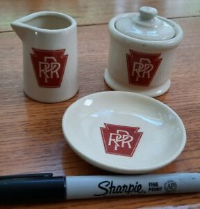 Vintage Pennsylvania Railroad Restaurant Ware Set, Creamer Sugar & Butter Pat