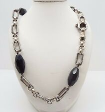 Dominique Cohen Sterling & Obsidian Chunky Style Link Necklace