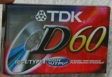 New TDK D60 Minutes IEC/TypeI Blank Audio Cassette TapeHigh Output Dynamic Perf