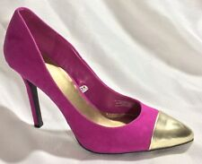 Mossimo Womens 11 M Fuchsia Pink Gold Faux Suede Heel Pump Pointed Cap Toe Shoes