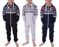New Unisex Kids Girls Boys Aztec Fleece Jumpsuit Playsuit 2-13 Years