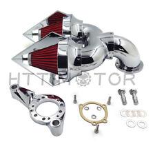 Chrome Spike Double Air Intake Cleaner Kit For Harley CV Carburetor Delphi V-Twi
