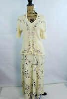 Carolyn Taylor 2 Piece Separates Sweater Embroidered Knit Top Maxi Skirt Lg Q95