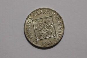 CZECHOSLOVAKIA 10 KORUN 1931 SILVER TONED B35 #8305