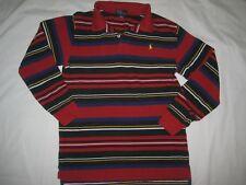 POLO RALPH LAUREN boys long sleeve Henley Red Blue Stripes Cotton shirt L 16/18