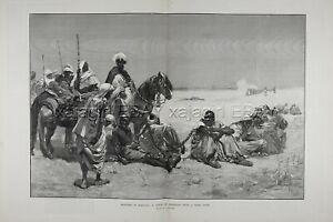 Morocco Prisoners of War Slavery, Huge Double-Folio 1880s Antique Print