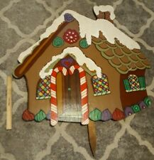 "Large Tole Handmade Wooden Christmas Gingerbread House Yard Decoration 33.5"" xx5"
