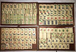 Vintage 1920's Bovine Bone Bamboo MAHJONG 142 TILES Dovetailed Play or Craft