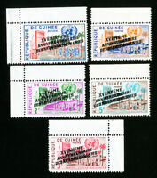Guinea Stamps 5 Double Overprint Values NH