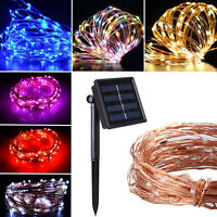 10M/100LEDS Lights Solar Powered Copper Wire String Fairy Waterproof Lamp Lights