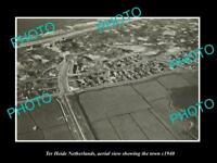 OLD LARGE HISTORIC PHOTO TER HEIDE NETHERLANDS HOLLAND TOWN AERIAL VIEW c1940