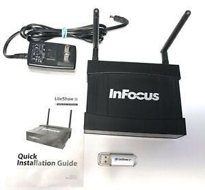 InFocus LiteShow III 3 Wireless WIFI Projection System w manual, USB Drive