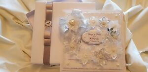 Wedding Card Personalised Large Handmade 8x8 inch 3D card with bespoke gift box