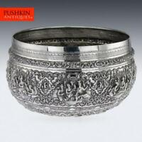 ANTIQUE 20thC MONUMENTAL BURMESE SOLID SILVER THABEIK BOWL, RANGOON c.1900