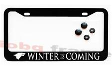 WINTER IS COMING Black License Plate Frame +Screw Caps GAME OF THRONES FAN