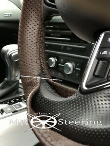 FITS VW T4 BROWN PERFORATED LEATHER STEERING WHEEL COVER 91-03 BLACK STITCH NEW