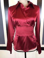 BCX Women's Sz M Career Formal Top Empire Waist Collar Blouse Long Sleeve ~Red