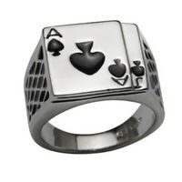 ITS- Men's Cool Poker Ace of Spades Stainless Steel Ring Fashion Jewelry Gift He