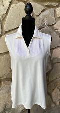 LADY HAGAN Golf Tennis Shirt Top Size L Ivory Collared V Neck Sleeveless