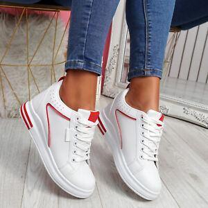 WOMENS LADIES LACE UP WEDGE TRAINERS ANKLE SNEAKERS BOOT PARTY WOMEN SHOES SIZE