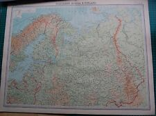 1922 LARGE ANTIQUE MAP- NORTHERN RUSSIA & FINLAND