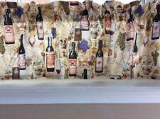 NEW Wine Glasses & Bottles & Grapes Valance Curtain