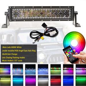 "14"" INCH LED Light Bar Combo RGB Halo Chasing Rock Strobe Flash Bluetooth APP"