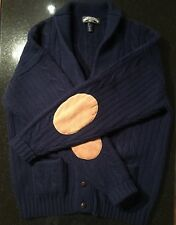 L XL Vintage Unused MACY'S THORNTON BAY All Wool NAVY BLUE CARDIGAN Suede Elbow