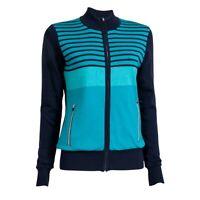 Ladies Thermal Windbreaker Golf Long Sleeve Top Azure Blue - Made in Denmark