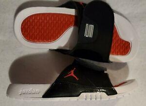 Jordan Hydro 11 Retro Slides Youth Size 5 Women's Size 6.5 Black Red AJ0022-006