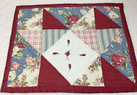 Patchwork Quilt Wall Hanging, Triangles, Flowers, Stripes, Checks, Embroidery