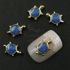 20pcs Sea Turtle Glitter Navy Blue Gold Tone 3D Alloy Charms Salon Nail Art Deco