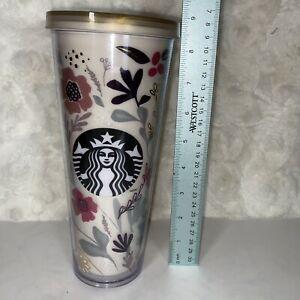 RARE 2014 Starbucks Flower Pattern Floral 'Harvest' Venti Cold Cup Tumbler 24 oz