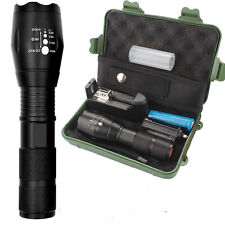 LED Tactical Police Flashlight Military Grade Torch Zoomable 5 Modes 18650 Light
