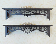 Dollhouse Miniature 1:12 set of two window ebony cornices  Artist Made Furniture