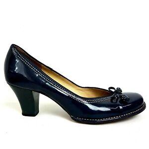 "Clarks Bombay Lights Court Shoes UK 8 Navy Blue Bow 2.5"" Block Heel"