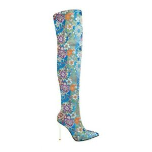 Women Pointy Toe Back Zip Winter Embroidery Slim High Heels Over Knee High Boots