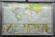 traditional wall chart geographical earth map of 17th 18th centuries