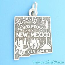 NEW MEXICO STATE MAP SANTA FE ALBUQUERQUE CARLSBAD .925 Sterling Silver Charm