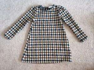 Zara Girls Checked Dress Age 7. Brown And Cream