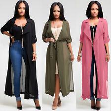 Uk  Womens Casual Long Sleeve Cardigan Chiffon Shirt Party Maxi Long Tops Dress