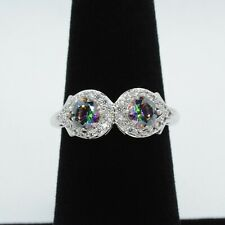 Rainbow Topaz & White Topaz Ring - Rhodium - Size 6 - Ring Bomb Party Original