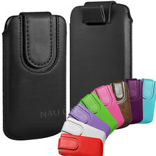 PREMIUM PU LEATHER PULL FLIP TAB CASE COVER POUCH WITH STRAP FOR APPLE PHONES
